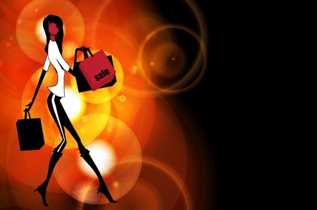 black fashion model: Illustration of a young elegant woman  Illustration