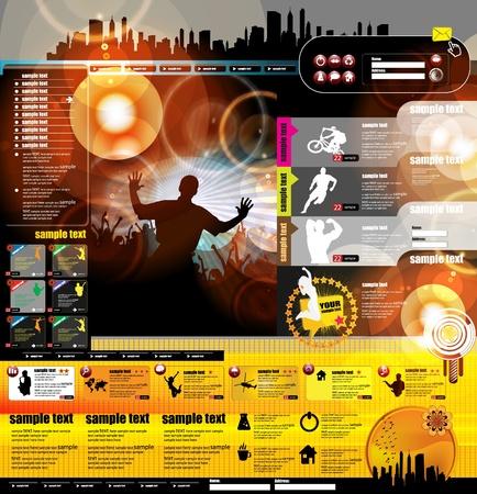 föremål: Webbplats layout med musikevenemang ämne Illustration