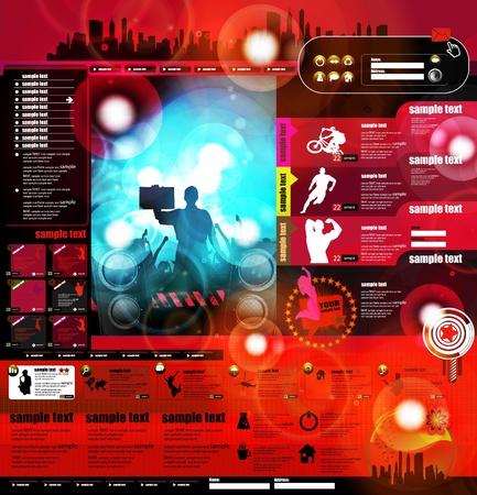 Music Website Template Design Stock Vector - 13281888