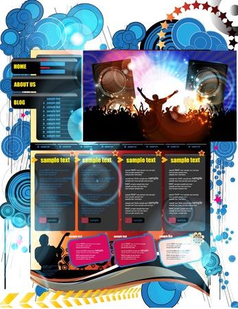 Music Website Template Design  Vector