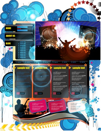 Music Website Template Design Stock Vector - 13281880