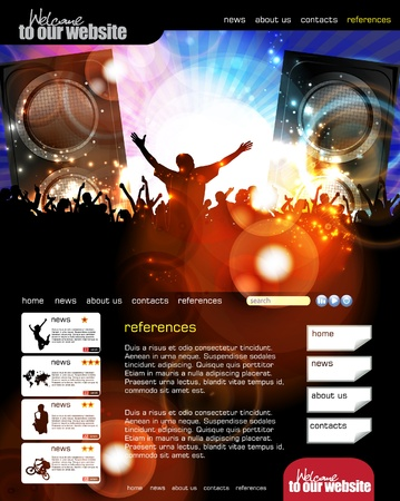 Web site layout with music event subject  Vector