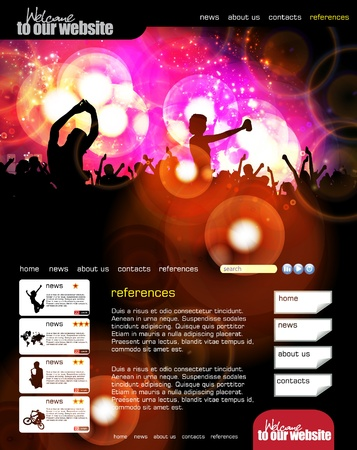 subject: Web site layout with music event subject