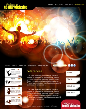 Web site layout with music event subject  Stock Vector - 13294396