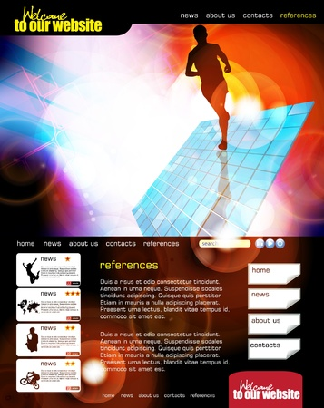 Web site layout with sport event subject  Stock Vector - 13294398