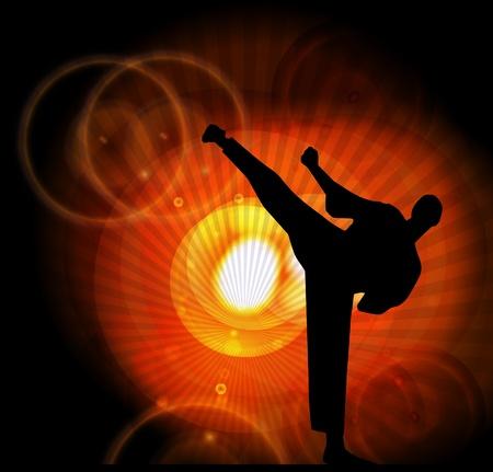 patada: Karate ilustraci�n Deporte