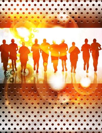 Running people Stock Vector - 13467455