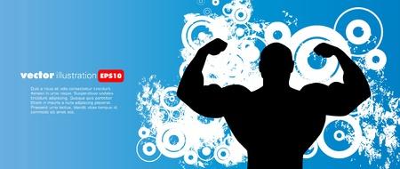 defined: Vector illustration of muscle man  Illustration