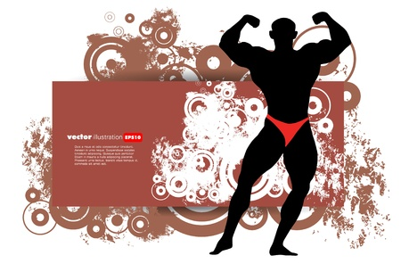 sculpted: Vector illustration of muscle man  Illustration