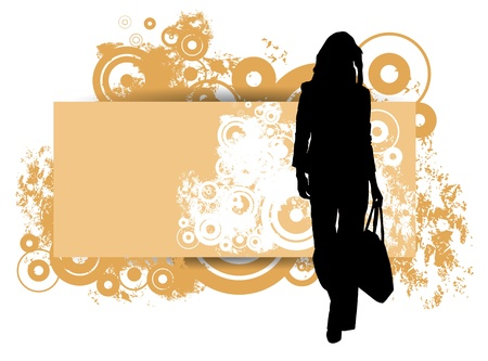 Girl on a grunge background  Vector illustrator   Vector