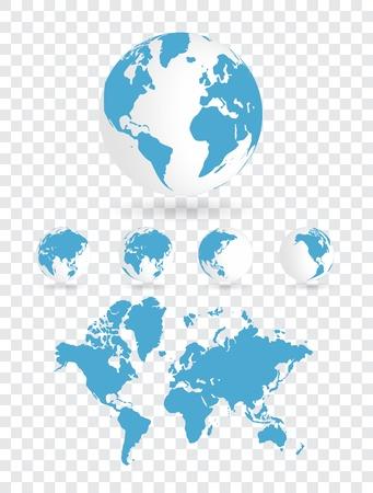 globo terraqueo: Mapa del mundo Vectores
