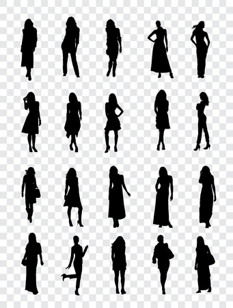 female silhouette: High quality traced posing silhouettes  Vector illustration Illustration