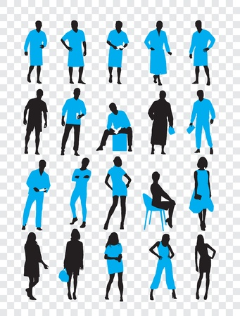 High quality traced posing silhouettes  Vector illustration Stock Vector - 13585275