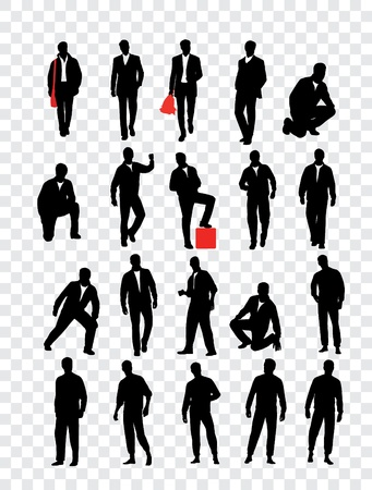 male fashion model: High quality traced posing silhouettes  Vector illustration Illustration