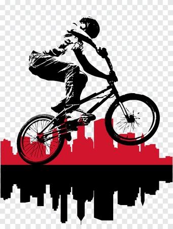 stunts: Vettore di ciclista BMX