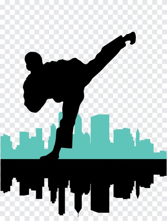 combative sport: Vector illustration of Martial silhouettes