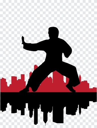 karate practice: Vector illustration of Martial silhouettes