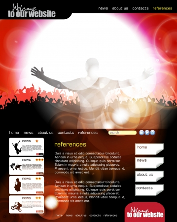 Web site template with music banner  Stock Vector - 13680839