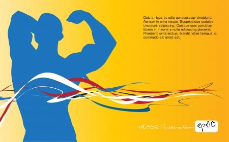 macho man: Bodybuilding  Vector illustration