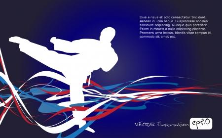 judo: Ilustraci�n de siluetas marciales