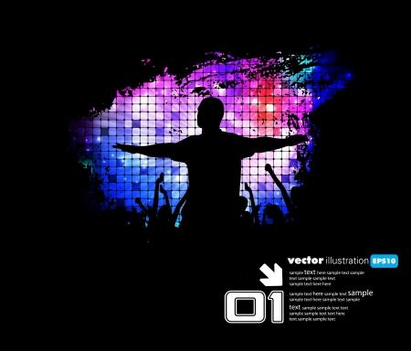 Dancing people  Music illustration Vector