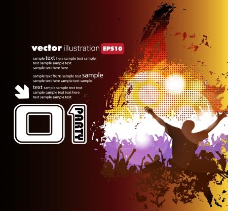concert poster: Dancing people  Music illustration