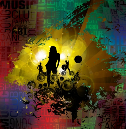 Dancing people  Music illustration   Vector