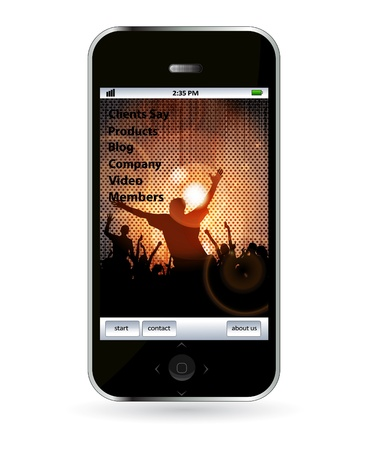 Mobile phone with music application  Vector