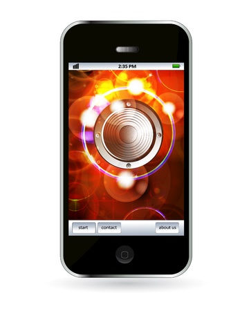 Mobile phone with music application  Stock Vector - 14245065