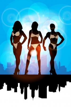 badpak: Fashion meisjes dragen bikini Stock Illustratie