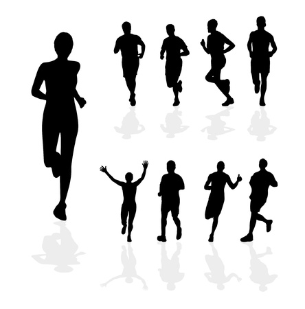 running silhouette: Sport vector illustration Illustration