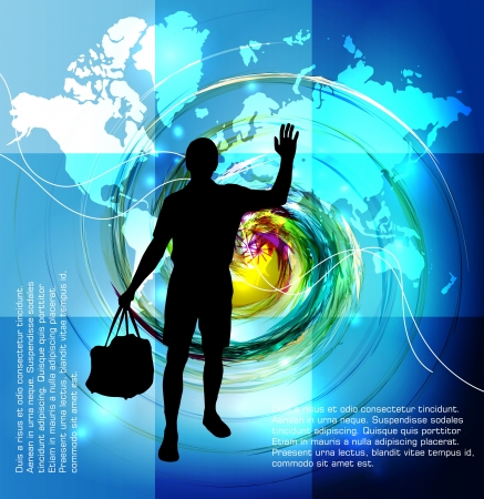Travel poster  Man with travel bag   Vector