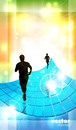 Editable illustration of a running man  Vector