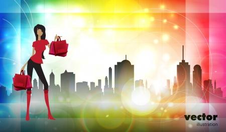 Vector illustration fashion girl shopping  Stock Vector - 14935339