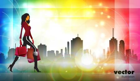 gladness: Vector illustration fashion girl shopping