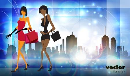 Vector illustration fashion girl shopping Stock Vector - 14935342