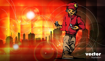 hip hop silhouette: Music illustration