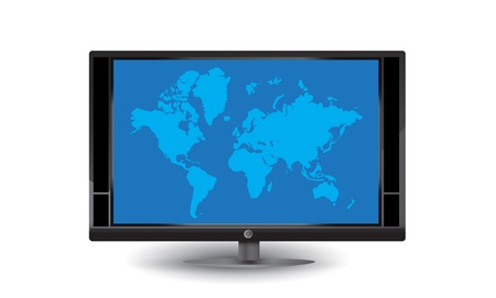 Lcd tv with blue world map Vector