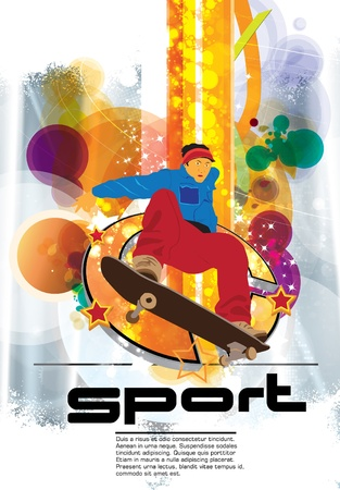 Skateboarder on abstract background  Vector
