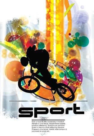 Ciclista BMX Ilustración de vector