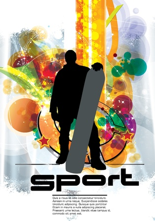 Snowboarder with abstract background Vector