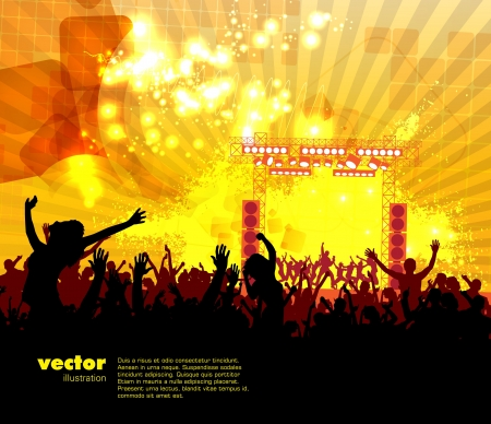 concert crowd: Dancing people  Music illustration  Illustration