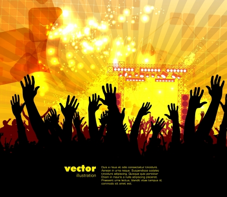 festival crowd: Crowd of people  Concert illustration