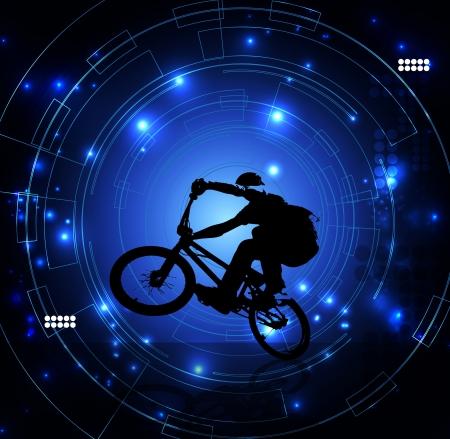 tire cover: BMX cyclist  Stock Photo