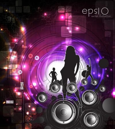 nightclub crowd: Dancing people  Music illustration  Illustration