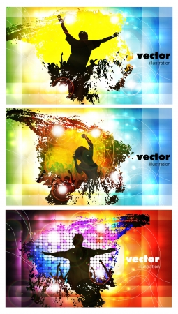 Dancing young people  Vector collection  Ilustracja