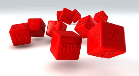 Red cubes with percent photo