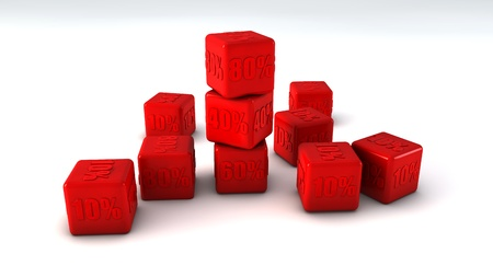 falling cubes: Red cubes with percent