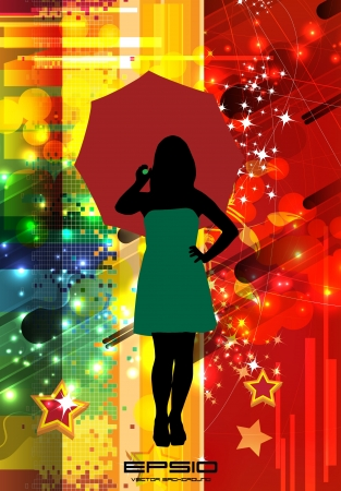 Woman with umbrella Stock Vector - 15464584