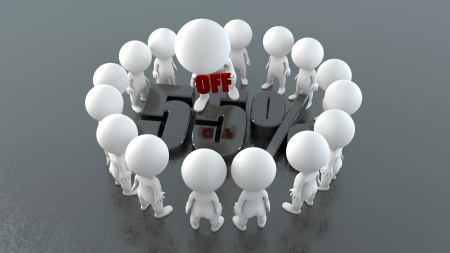 3d people with promotion symbol  photo